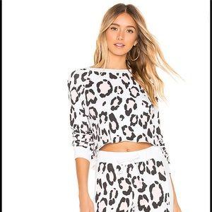 NWT WILDFOX blush leopard crop sweatshirt